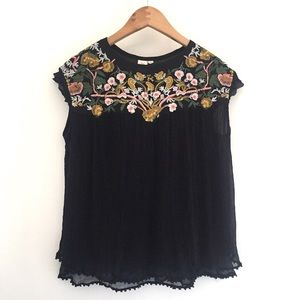 Anthropologie Seen Worn Kept Embroidered Blouse XS
